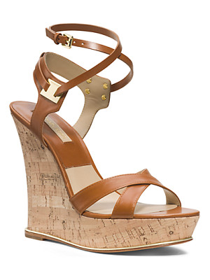 MICHAEL KORS Shana Leather And Cork Espadrille Wedge