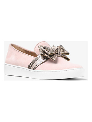 Michael Kors Collection Val Suede And Snakeskin Slip-On Sneaker