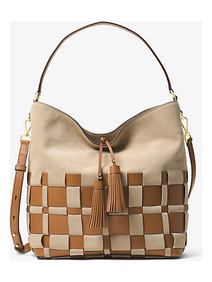 Michael Kors Vivian Large Woven Suede And Leather Hobo