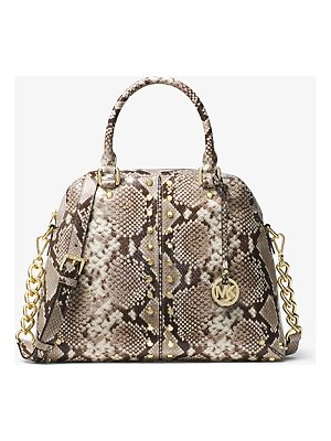 MICHAEL Michael Kors Astor Studded Embossed-Leather Satchel