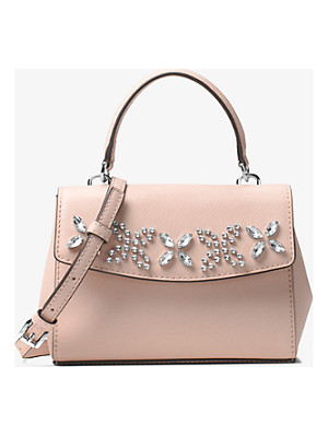 MICHAEL MICHAEL KORS Ava Extra-Small Crystal-Embellished Leather Crossbody