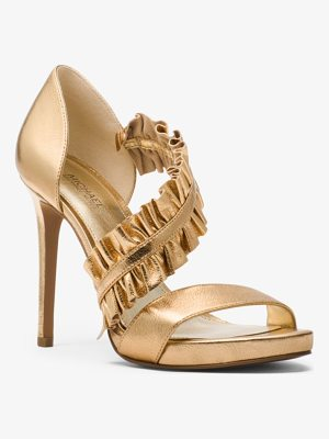 MICHAEL Michael Kors Bella Ruffled Metallic Leather Sandal