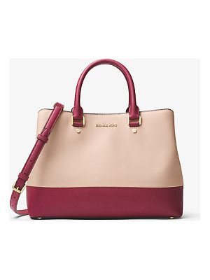 MICHAEL MICHAEL KORS Savannah Color-Block Saffiano Leather Satchel