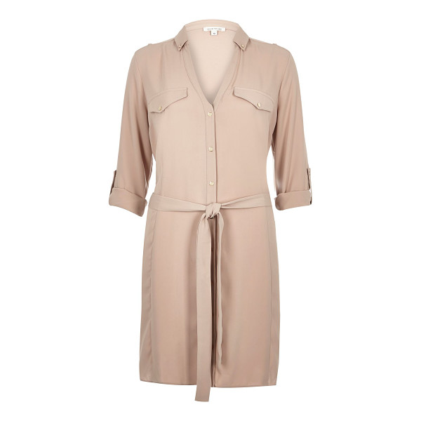 RIVER ISLAND beige crepe military shirt dress - Crepe Relaxed fit Button-up front V-neck Button down collar...