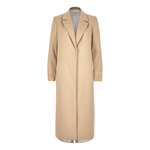 RIVER ISLAND beige tailored duster overcoat - Shawl lapels Tailored style coat Longline fit Long sleeve...
