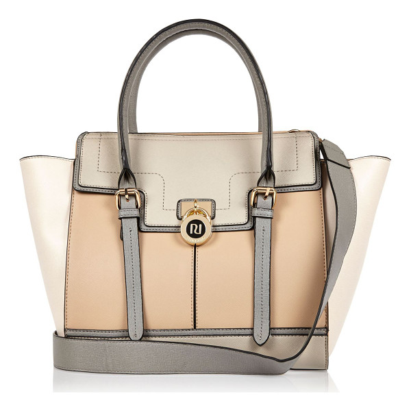 RIVER ISLAND beige padlock winged tote handbag - Winged tote bag Two top handles Adjustable shoulder strap...