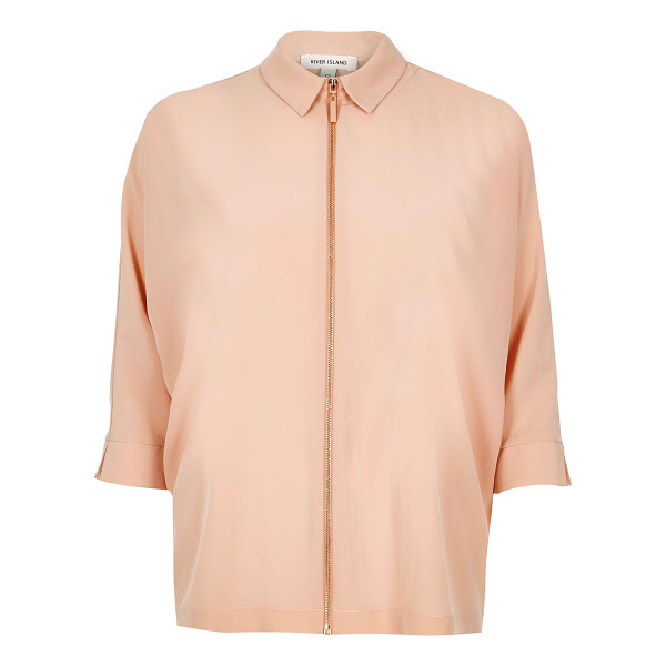 RIVER ISLAND beige zip front shirt - Lightweight fabric Mid sleeve Rose gold tone zip fastening...