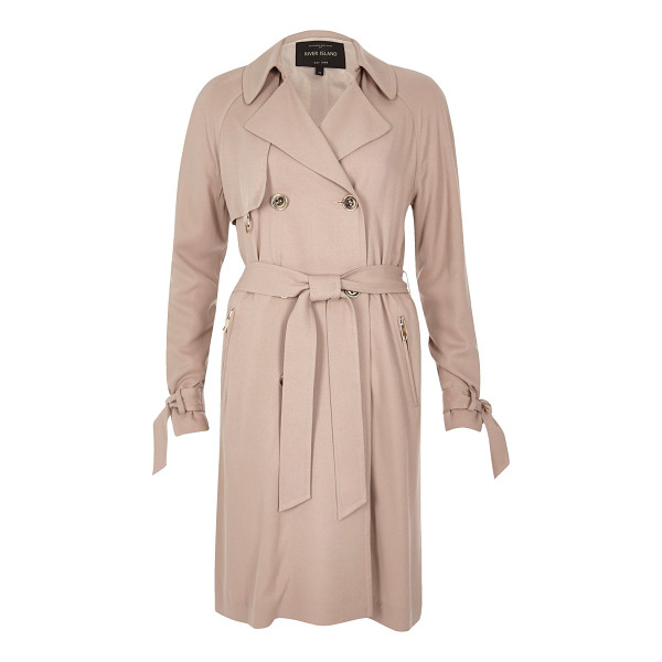 RIVER ISLAND blush pink duster trench coat - Premium woven fabric Soft trench coat Double-breasted front...