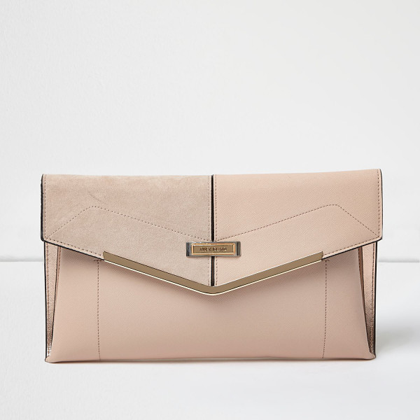 RIVER ISLAND blush pink envelope clutch bag with gold bar - Leather look Suede look detail Gold metal detail Snap...