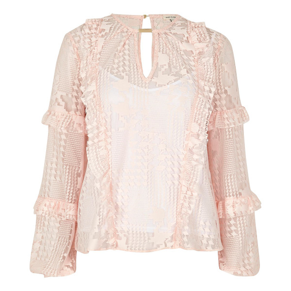 RIVER ISLAND blush pink lace frill blouse - Houndstooth lace Cami top underlayer Loop front detail...