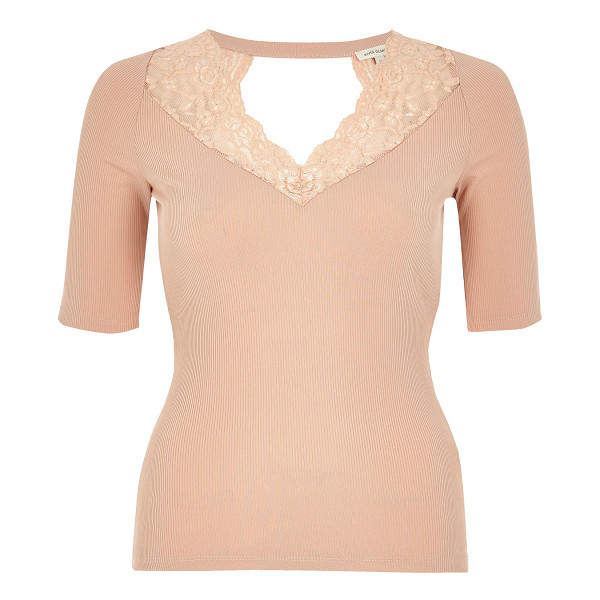 RIVER ISLAND blush pink lace trim top - Smart jersey with lace trim Fitted top Dipped neckline Mid...