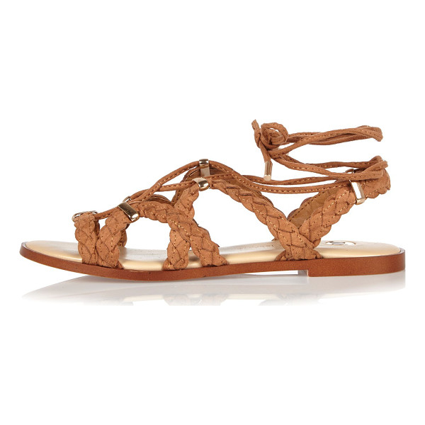 RIVER ISLAND brown plaited sandals - Plaited straps Caged gladiator style Lace-up front and ankle