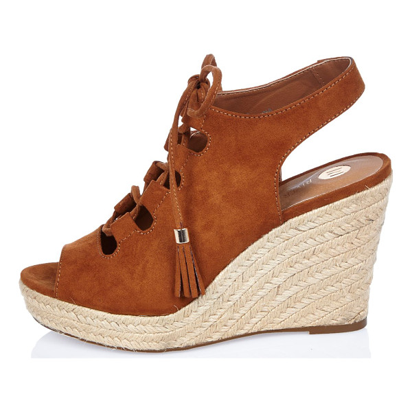 RIVER ISLAND brown slingback gladiator wedges - Open toe Lace-up front Slingback Woven raffia wedge heel...