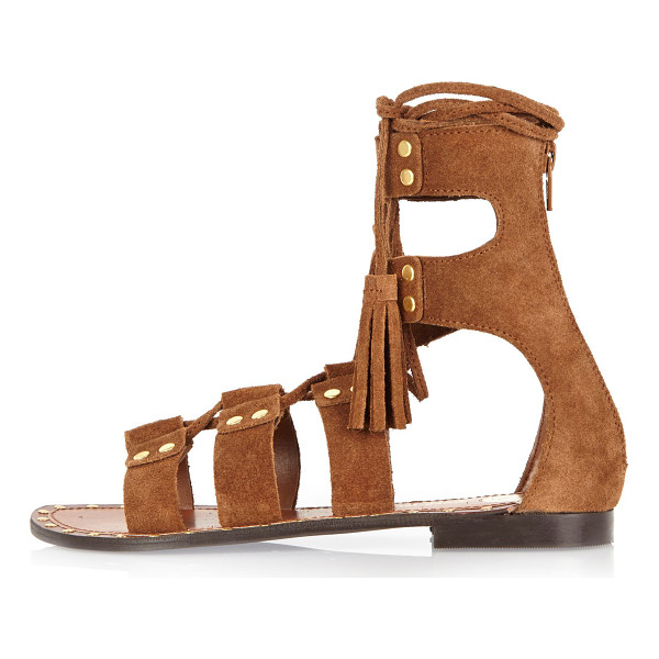 RIVER ISLAND brown suede studded gladiator sandals - Suede upper Gold hardware Lace-up strap with tassels Stud...