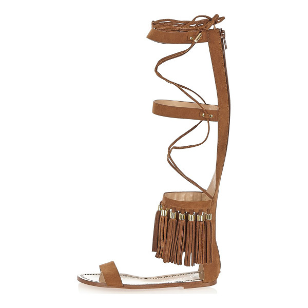RIVER ISLAND brown tassel high leg sandals - Faux suede High ankle design Tassel trim Zip back fastening