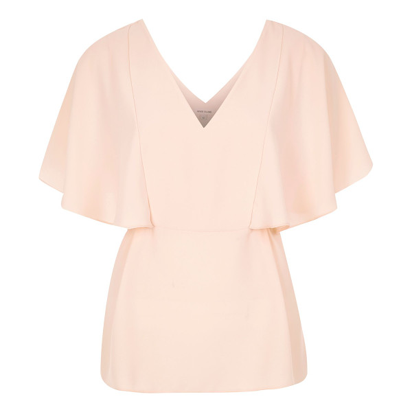 RIVER ISLAND coral cape back v-neck t-shirt - Lightweight woven fabric Relaxed fit Deep V-neck Short...