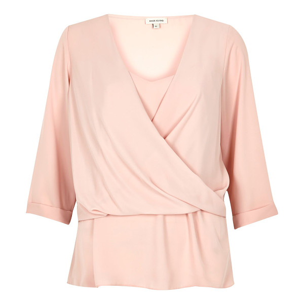 RIVER ISLAND cream layered wrap blouse - Layered design Wrap overlay Cami top underlay Relaxed fit...