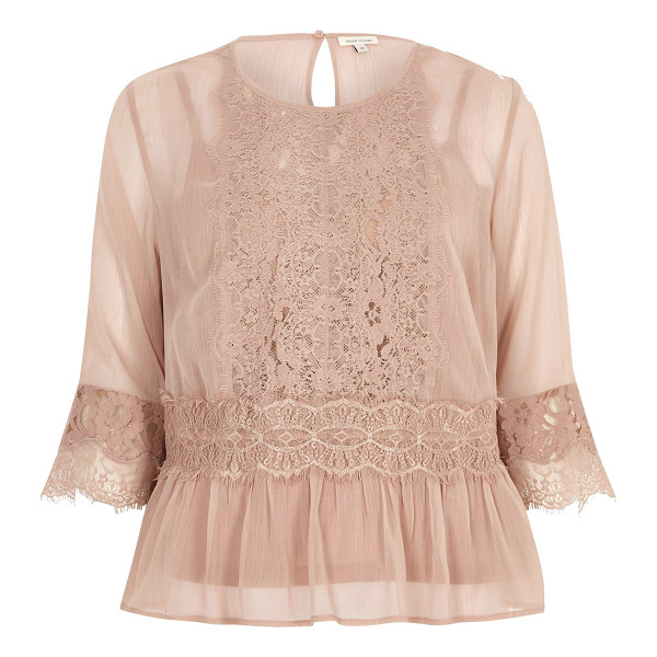 RIVER ISLAND dark nude chiffon lace detail blouse - Chiffon fabric with l ace front detail Long sleeve with...