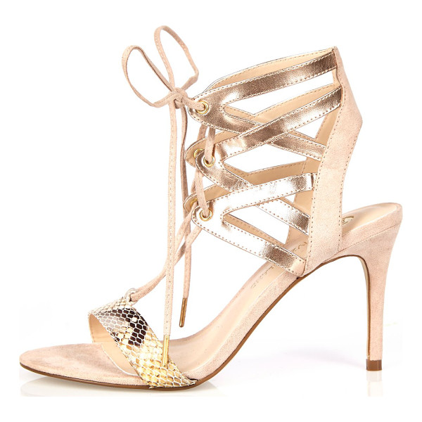 RIVER ISLAND gold caged heel sandals - Snake print straps Metallic gold caged ankle Open toe...