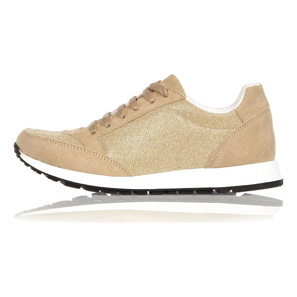 RIVER ISLAND gold glittery sneakers - Faux suede Glittery design Rounded toe Lace-up front...