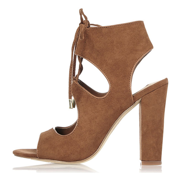 RIVER ISLAND light brown caged heel sandals - Faux suede upper Open toe Cut-out detail Lace-up fastening...