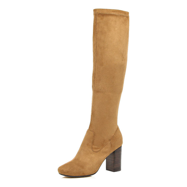 RIVER ISLAND light brown knee high heeled boots - With a knee-high design, these faux-suede boots will...