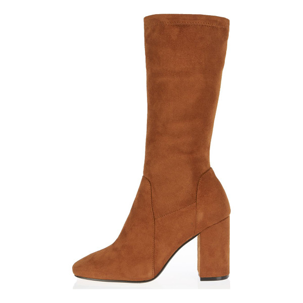 RIVER ISLAND light brown stretch calf high boots - Stretchy faux suede upper Round toe Calf high length Block...