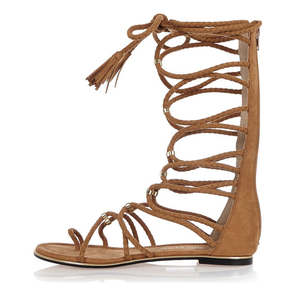 RIVER ISLAND light brown tie-up sandals - Faux suede upper Tied-up design Mid calf sandal Metallic...