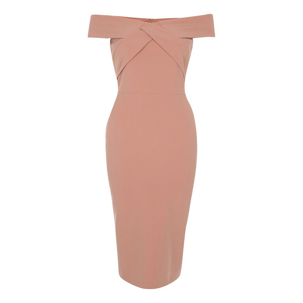 RIVER ISLAND light pink bardot bodycon midi dress - Stretch crepe Bodycon fit Off-the-shoulder bardot neckline...