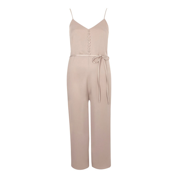 RIVER ISLAND light pink buttoned cami culotte jumpsuit - Soft woven fabric Button detail along chest Dipped neckline...