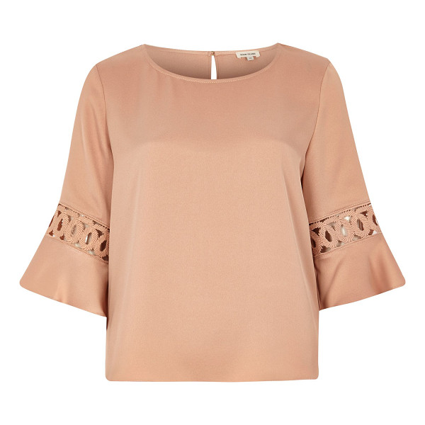 RIVER ISLAND light pink crochet flute sleeve top - Smart crepe fabric Relaxed fit Round neckline Crochet flute...
