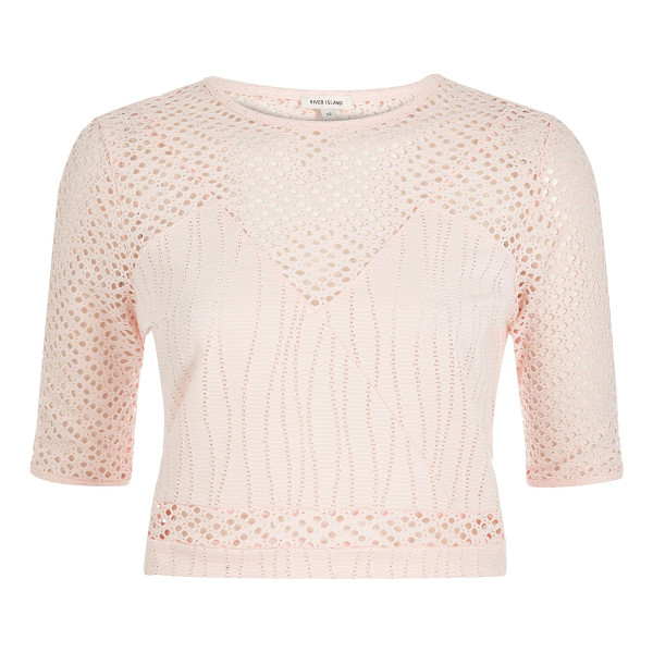 RIVER ISLAND light pink embroidered mesh crop top - Mesh and jersey Fitted Cropped Crew neck Mid sleeve Our...