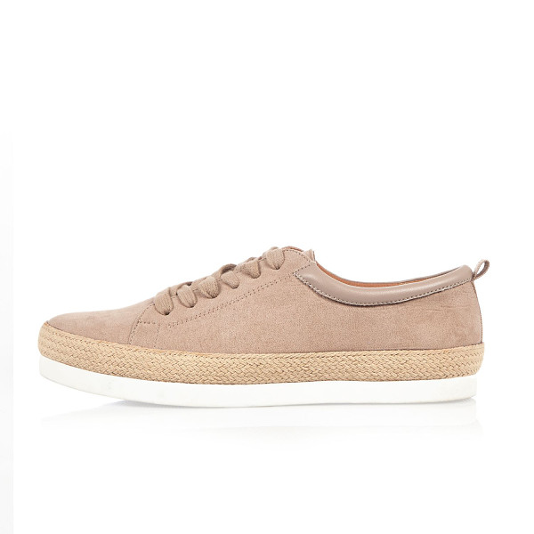 RIVER ISLAND light pink espadrille lace-up sneakers - Faux suede upper Round toe Lace-up fastening Layered raffia...