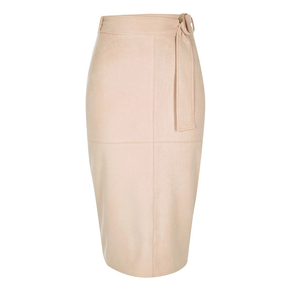RIVER ISLAND light pink faux suede belted pencil skirt - Faux suede Pencil skirt High waisted Belted