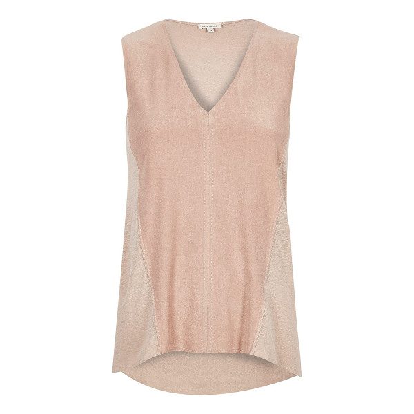RIVER ISLAND light pink faux suede sleeveless top - Faux suede front Linen-feel back V-neck