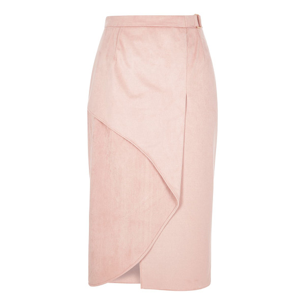 RIVER ISLAND light pink faux suede wrap pencil skirt - Faux suede Wrap front with buckle Asymmetric hem Midi length