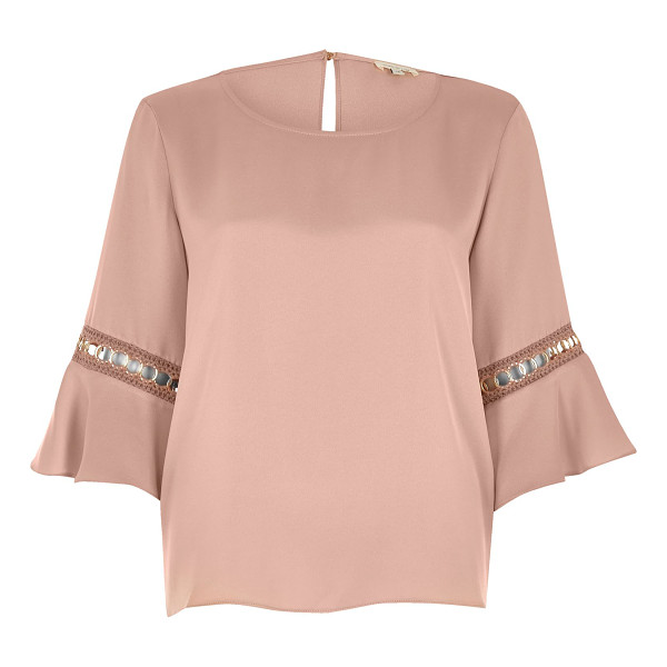 RIVER ISLAND nude cord insert trumpet sleeve top - Relaxed fit Round neckline Flared sleeve with cord insert...