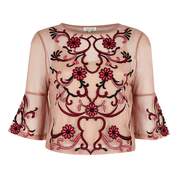 RIVER ISLAND light pink floral embroidered top - Nude mesh fabric Floral embroidery Fitted top Crew neck...
