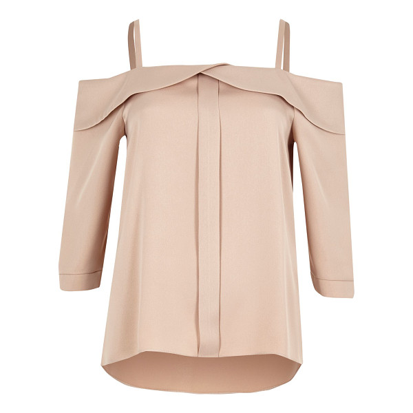 RIVER ISLAND light pink foldover bardot top - Crepe fabric Foldover detail Cold shoulder straps...