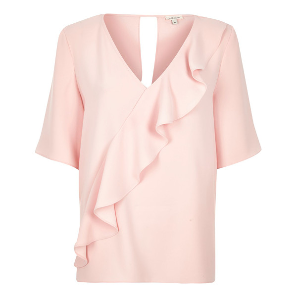 RIVER ISLAND light pink frill front t-shirt - Soft woven fabric Relaxed fit V-neck Short wide sleeves...