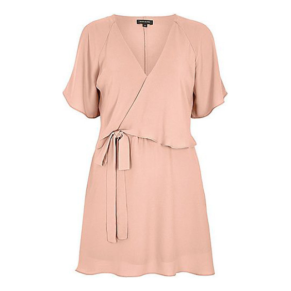 RIVER ISLAND light pink cold shoulder tea dress - Woven crepe fabric Frilly overlayer V-neckline Cold...