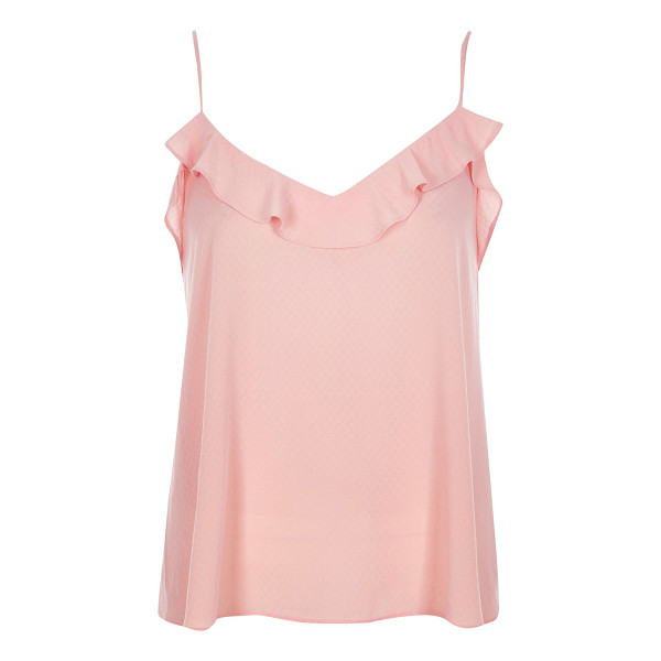 RIVER ISLAND blush pink frilly jacquard cami top - Jacquard fabric Relaxed fit Frilly neckline Our model wears...