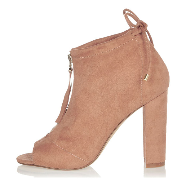 RIVER ISLAND light pink heeled shoe boots - Faux suede upper Peep toe Zip front Lace detail Block heel...