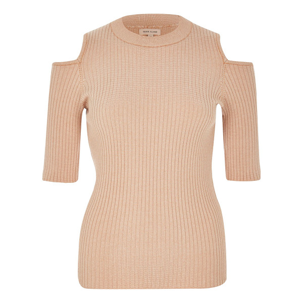 RIVER ISLAND light pink knit cold shoulder top - Lightweight fabric Stretch to fit Crew neck Mid sleeve Cold...