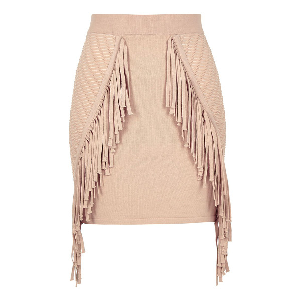 RIVER ISLAND light pink knitted fringed mini skirt - Knitted High waisted Fringed trim Mini length Our model...