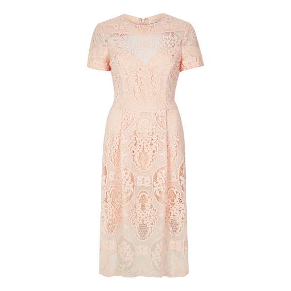 RIVER ISLAND light pink lace midi dress - Lace fabric Fitted waist Midi length Round neck Short...