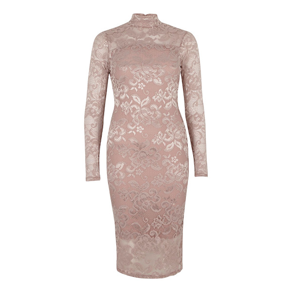 RIVER ISLAND light pink lace turtleneck bodycon dress - Lace panelling Bodycon fit High neckline Long sleeve Loop...