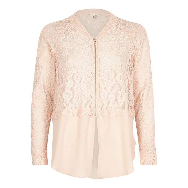 RIVER ISLAND light pink lace woven hem bomber jacket - Lace bomber jacket Relaxed fit Long sleeve Zip front...