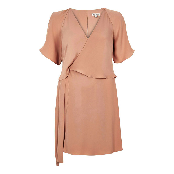 RIVER ISLAND light pink layered dress - Twill Cinched at the waist V-neck Short sleeve Overlaying...