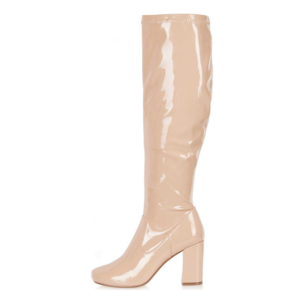 RIVER ISLAND light pink patent heeled knee high boots - Patent Rounded toe Stretch knee-high design Side zip...